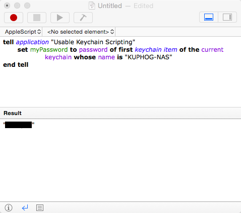 """AppleScript test of Usable Keychain Scripting"""